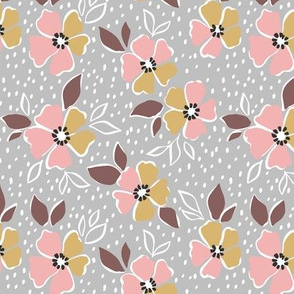 Small scale ditsy floral in pink, yellow, grey and brown