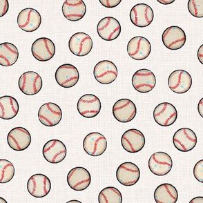 Baseball Balls on Soft Gray / Taupe Linen Look - Sandlot Sports Collection