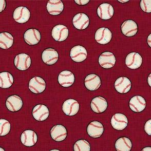Baseball Balls on Red Linen Look - Sandlot Sports Collection