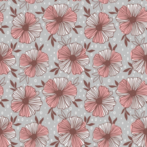 large scale floral in pink and brown on gray ground