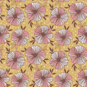 large scale floral in pink and brown on yellow ground