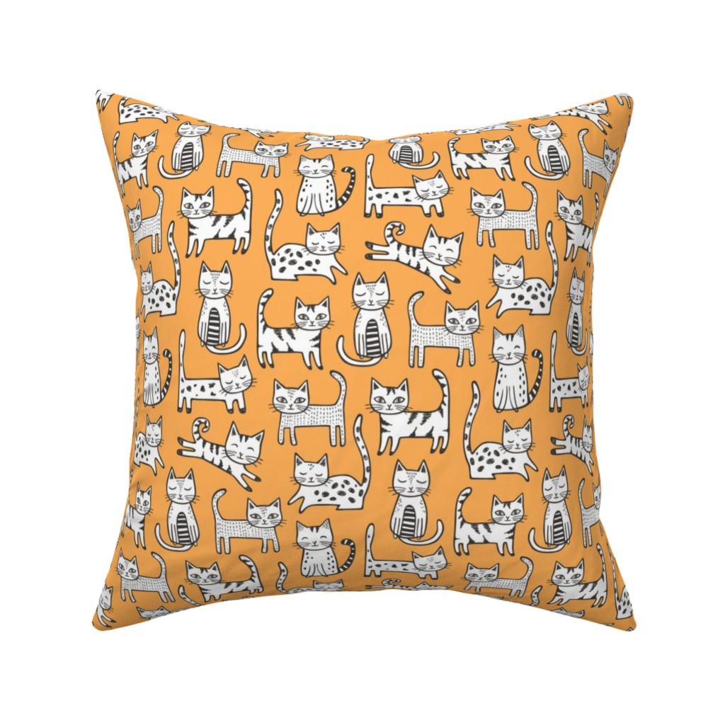 Catalan Throw Pillow featuring Cats with Stripes Orange by caja_design