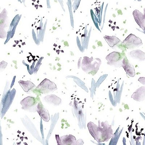 July's blossom • watercolor tender purple florals