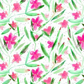Midsummer bloom in pink • watercolor floral pattern