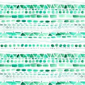 Emerald aztec • watercolor tribal pattern