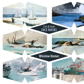 Winslow Homer Face Masks 12 Sea and Bahamas Watercolor Paintings