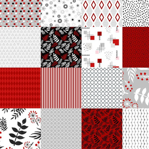 Red and black patchwork blanket charm pack wholecloth quilt
