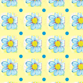 Blue Dots and Blue Flowers on Yellow