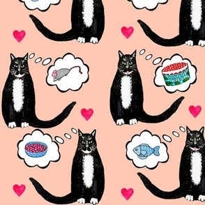 Tuxedo cats dreaming of catnip and toys!