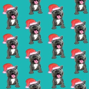 french bulldog santa on blue