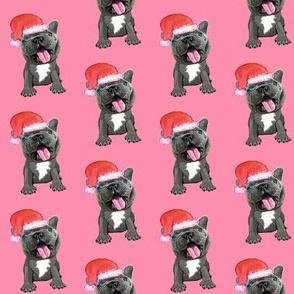 french bulldog santa on pink