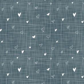 Denim Textured Bohemian Hand Drawn Hearts