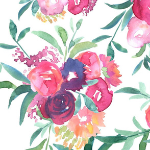 Peonies and Roses Watercolor Floral - Large Repeat