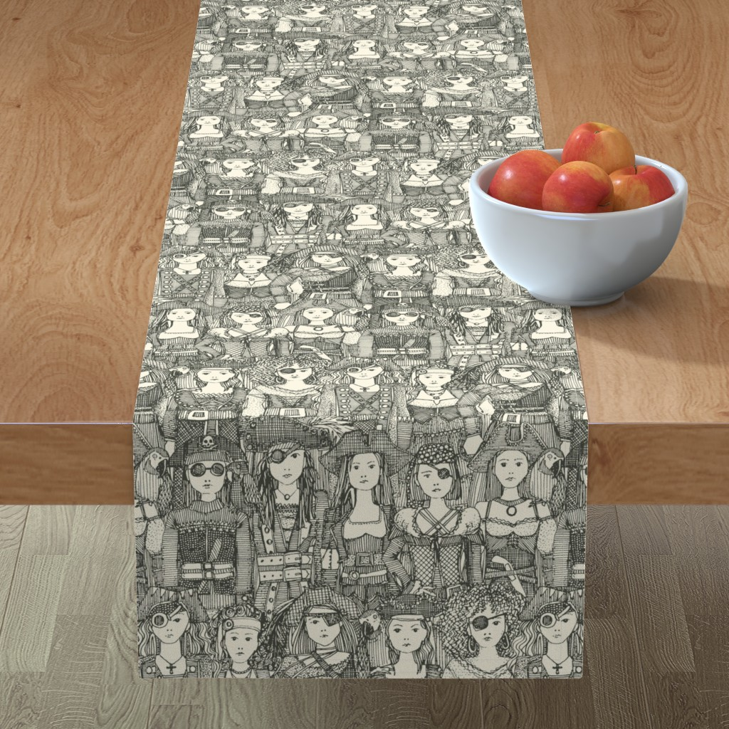 Minorca Table Runner featuring me beauties charcoal pearl by scrummy