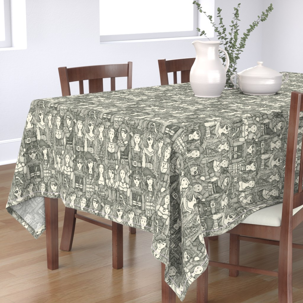 Bantam Rectangular Tablecloth featuring me beauties charcoal pearl by scrummy