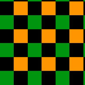 Checkered Green Black Orange