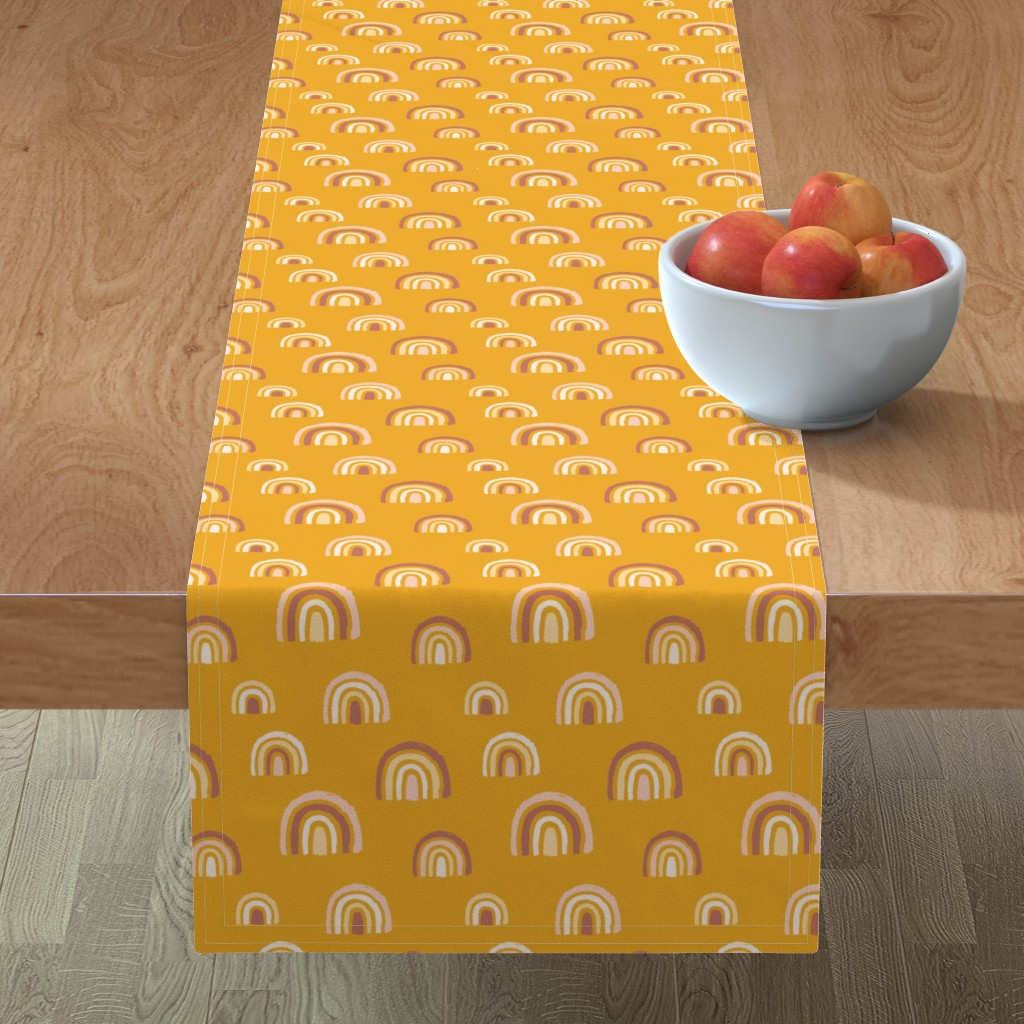 Minorca Table Runner featuring Rainbows mustard yellow by revista
