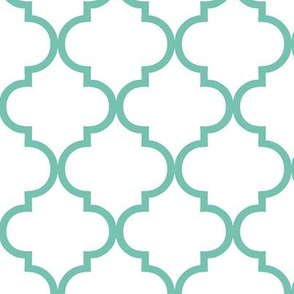 moroccan tile, mint and white