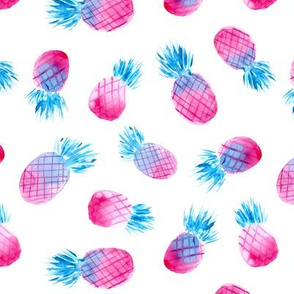 So fun pineapples in pink and blue • watercolor tropical pattern for nursery
