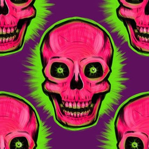 Extra Large Vintage Skull (on purple)