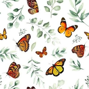 Monarch Butterflies and Botanical Leaves // White