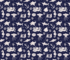 sea creature pirate pattern