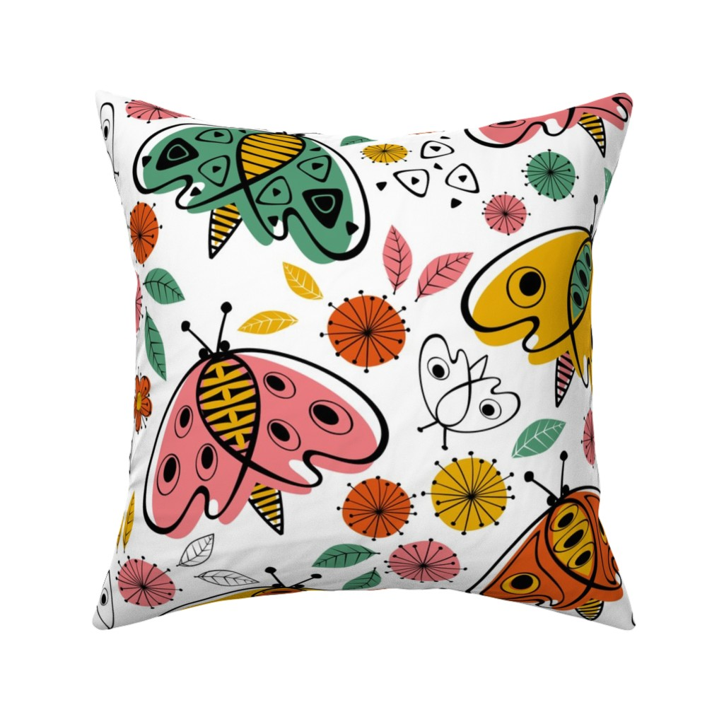 Catalan Throw Pillow featuring Mod Moths by studioxtine