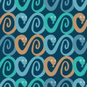 teal and turquoise snakes by rysunki_malunki