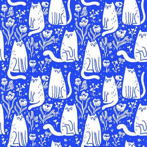cats + butterflies - white & blue