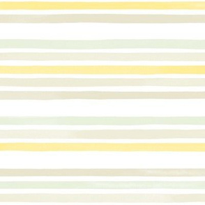 Small Watercolor Stripes M+M Sunshine Dusty Mint by Friztin