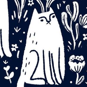 cats & butterflies - charcoal & white - jumbo