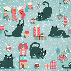 Vintage Christmas cats - XL