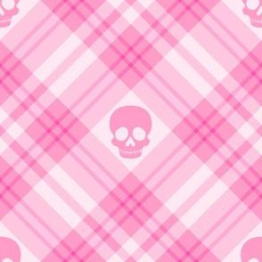 Skull Tartan Plaid in Pink