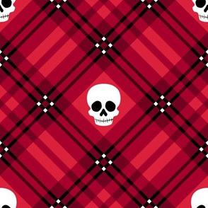 Skull Tartan Plaid in Red