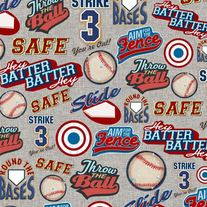 Baseball Lingo on Gray - Sandlot Sports Collection