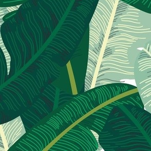Classic Banana Leaves in Palm Springs Green - LARGER SCALE