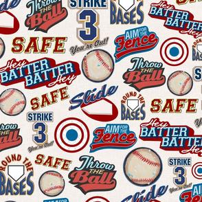 Baseball Lingo on Soft Taupe - Sandlot Sports Collection