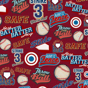 Baseball Lingo on Red - Sandlot Sports Collection