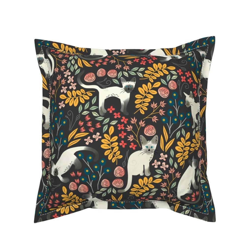 Serama Throw Pillow featuring Siamese Garden by amy_maccready