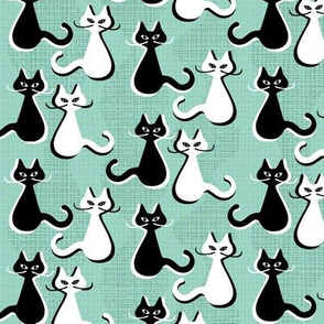 Midcentury modern cats with moustaches