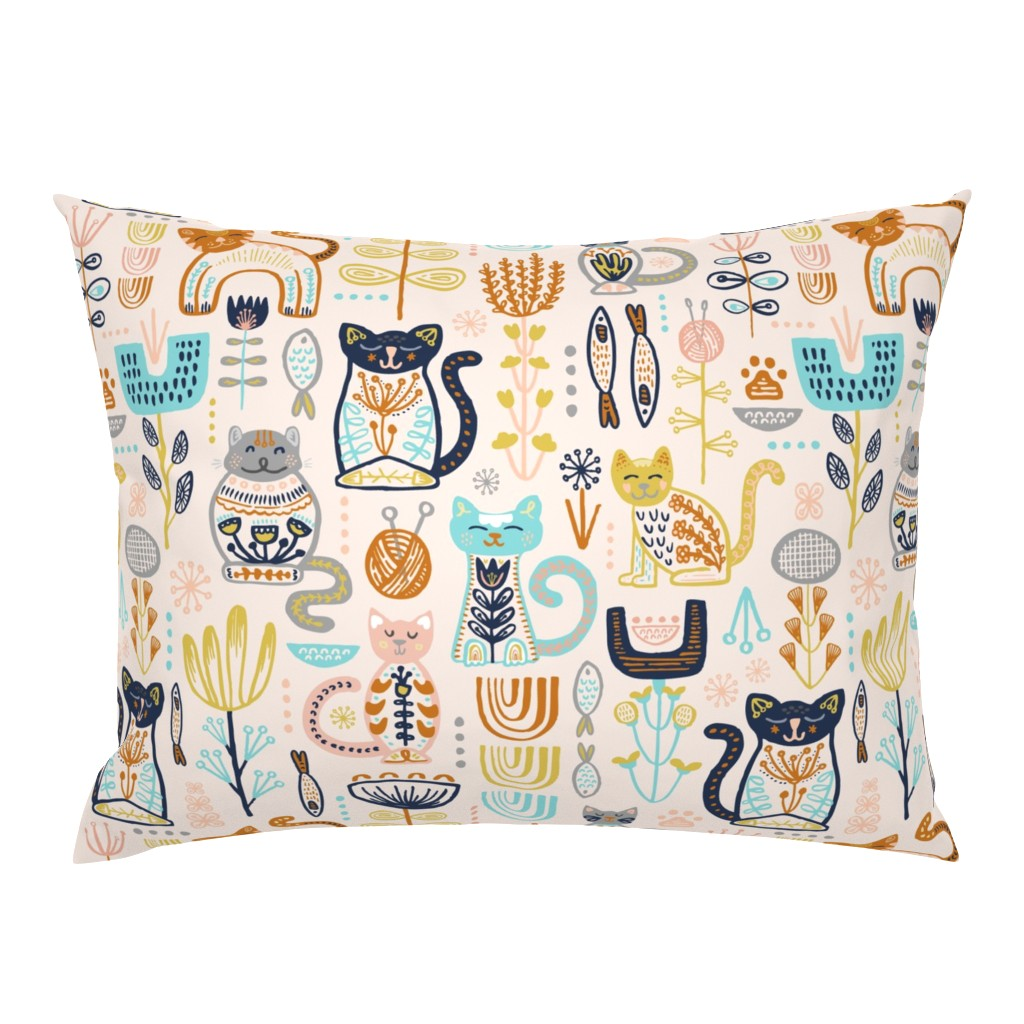 Campine Pillow Sham featuring Sweet Scandi Cats // Felines + Florals in Blush, Copper, Goldenrod, Pool Blue, Navy, and Stone // Scandinavian Flowers, Cats, Yarn, Fish, Leaves, Botanicals, Knitting, Nordic, Hygge, Starburst, Geometric, Kitties by zirkus_design
