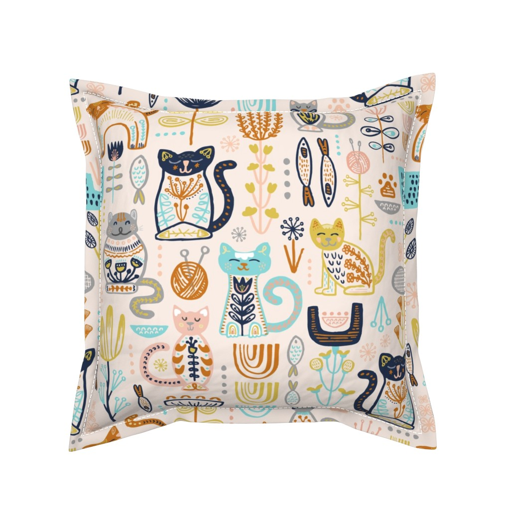 Serama Throw Pillow featuring Sweet Scandi Cats // Felines + Florals in Blush, Copper, Goldenrod, Pool Blue, Navy, and Stone // Scandinavian Flowers, Cats, Yarn, Fish, Leaves, Botanicals, Knitting, Nordic, Hygge, Starburst, Geometric, Kitties by zirkus_design