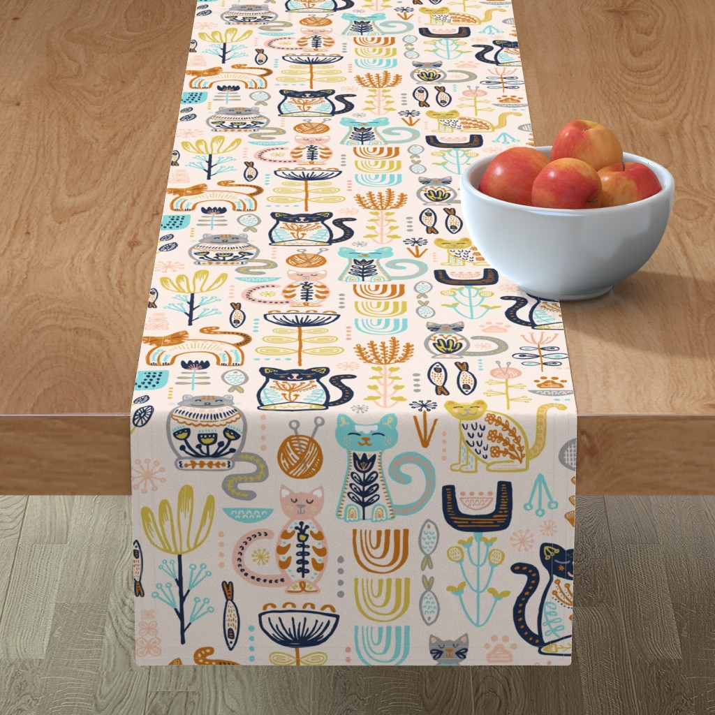 Minorca Table Runner featuring Sweet Scandi Cats // Felines + Florals in Blush, Copper, Goldenrod, Pool Blue, Navy, and Stone // Scandinavian Flowers, Cats, Yarn, Fish, Leaves, Botanicals, Knitting, Nordic, Hygge, Starburst, Geometric, Kitties by zirkus_design