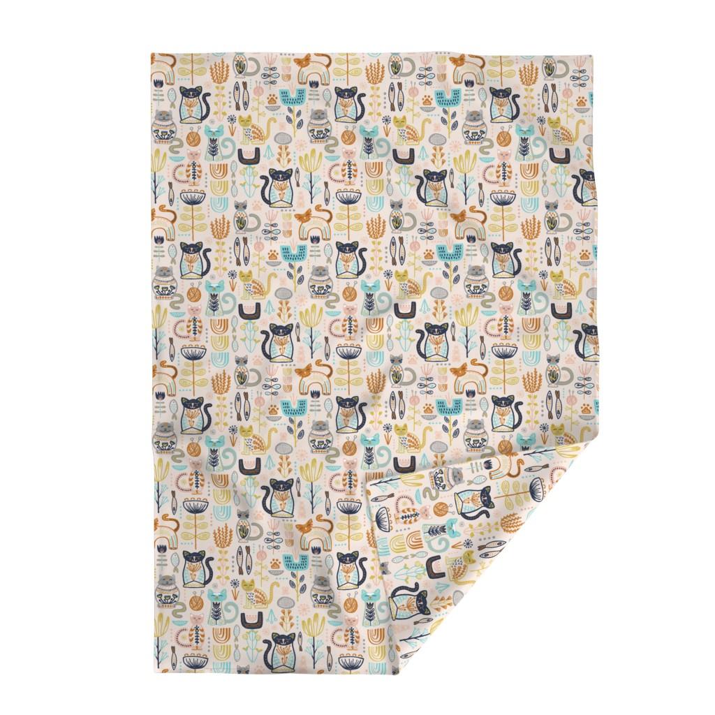 Lakenvelder Throw Blanket featuring Sweet Scandi Cats // Felines + Florals in Blush, Copper, Goldenrod, Pool Blue, Navy, and Stone // Scandinavian Flowers, Cats, Yarn, Fish, Leaves, Botanicals, Knitting, Nordic, Hygge, Starburst, Geometric, Kitties by zirkus_design