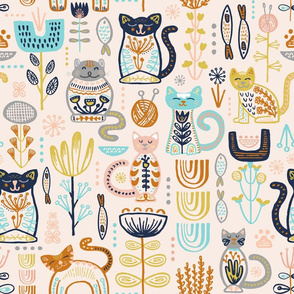 Sweet Scandi Cats // Felines + Florals in Blush, Copper, Goldenrod, Pool Blue, Navy, and Stone // Scandinavian Flowers, Cats, Yarn, Fish, Leaves, Botanicals, Knitting, Nordic, Hygge, Starburst, Geometric, Kitties