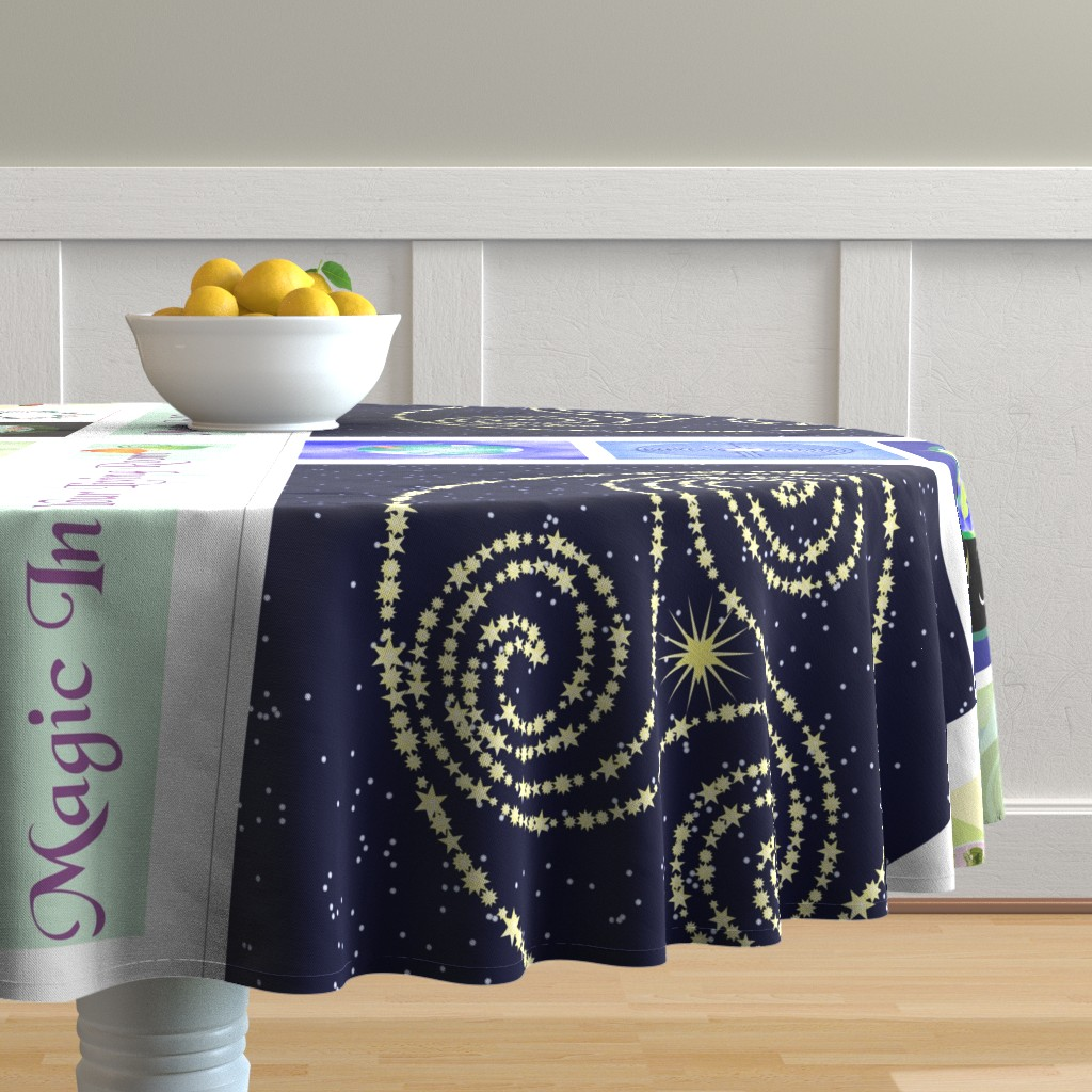 Malay Round Tablecloth featuring Constellation Triskelion 24 by magicinyourlivingroom