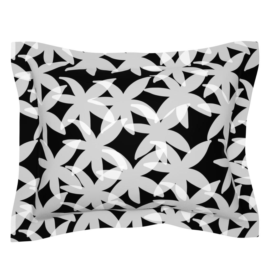 Sebright Pillow Sham featuring Shabby Chic Midnight Daisies! White on black, medium by bravenewart