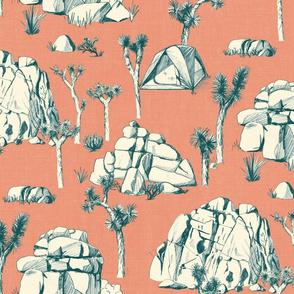 Joshua Tree Toile - Green on Coral