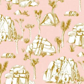 Joshua Tree Toile - Gold on Pink