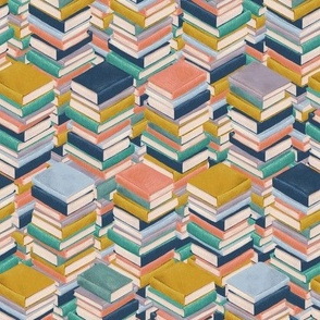 Book Stacks in Mustard Coral and Navy